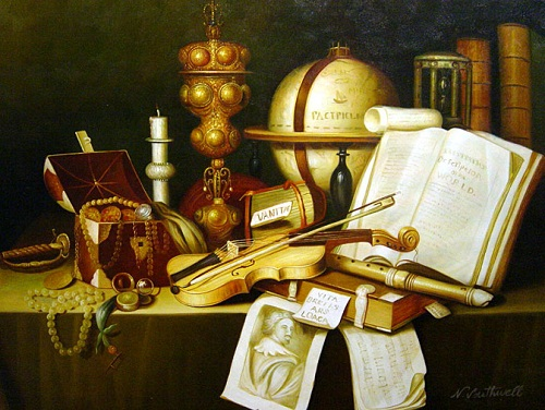 Vanitas still life symbolism. Dutch Golden Age still-life painter Adam Bernaert