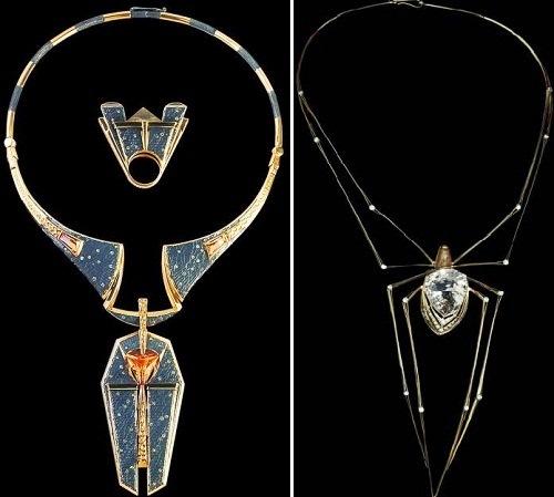 left – Necklace, ring 'Pharaoh', 2000. Gold, silver, diamonds, ametrines.