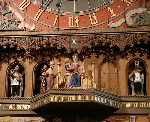 Fabulous Astronomical Clock in Lund Cathedral in Sweden. The clock plays music twice a day and three wise men and their servants pass by the figures of Jesus and Mary