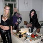 Olga Oleinik (center), Valeriya Lukyanova (left), and their fan