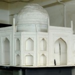 A scale model of the replica Taj Mahal made from clay
