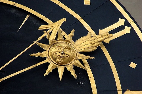 Beautiful design with the image of Sun, Moon and stars