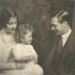A baby Queen Elizabeth II with her parents in 1927