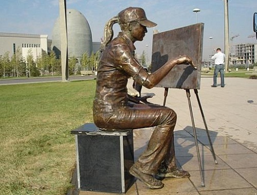 A monument to the artist in Astana, Kazakhstan