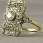 A platinum, 18 carat gold and diamond ring most probably belonged to one of the Titanic's first class passengers accompanies a sapphire and diamond piece for a 100th anniversary exhibit