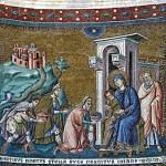 Byzantine mosaic in Santa Maria in Trastevere in Rome. Adoration of the Magi