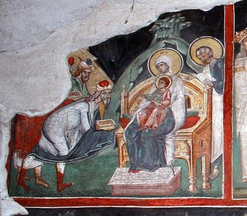 Medieval fresco (fragment), Kremikovtsi Monastery. Adoration of the Magi