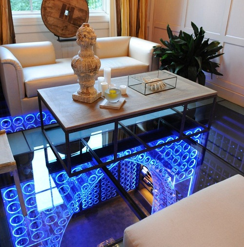 Elegant wine cellar of glass and light