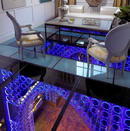 Luxurious interior created of glass and light. One-of-a-kind wine cellar by interior designer Jamie Beckwith
