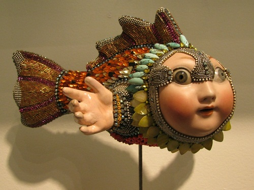 Surreal Jewelry sculpture in the form of a fish. Bead art by American artist jeweler Betsy Youngquist