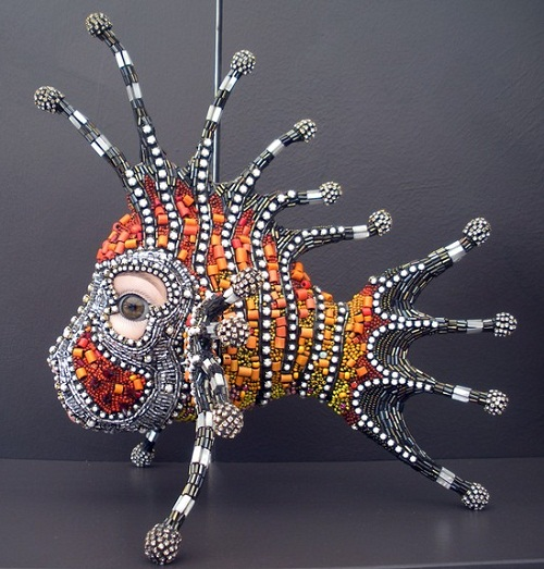 Deep-water fish Jewelry sculpture covered with mosaic of bead. Bead artist Betsy Youngquist