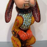 Hare sculpture covered with mosaic of bead by American artist jeweler Betsy Youngquist