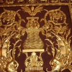 The interiors are richly decorated with carvings and gold leaf