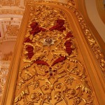 The abundance of gold color, gilding and carving covered with gold