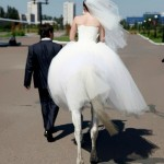 A Bride on a horseback