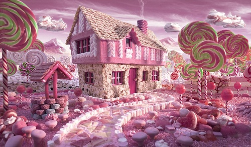 Candy Cottage - this house comprised of marshmallows and nougat, with giant lollipop trees