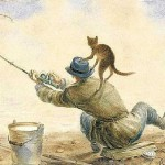 Fishing passion. Painting by Russian artist Vladimir Rumyantsev