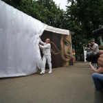 "Unveiling coffee bean painting ""Awakening"". Moscow"