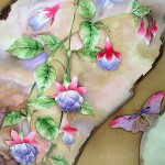 Delicate translucent scarf in Chinese style. Bright Fuchsia and delicate butterflies. Play of color against a background give the impression of mother of Pearl