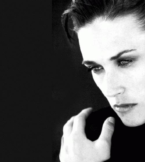 Black and white. Demi Moore
