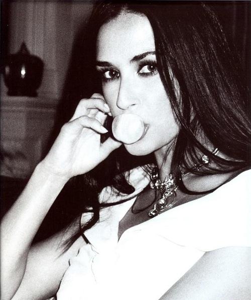 Black and white photo. Demi Moore