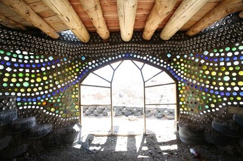 Interior of Earthship glass bottle house