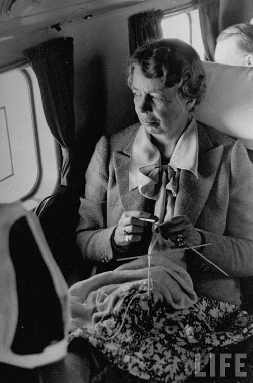 American First Lady Eleanor Roosevelt knitting