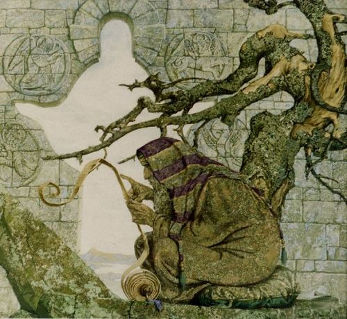 Ezra the Scribe. Mythological paintings by Russian artist Nikolai Burdykin