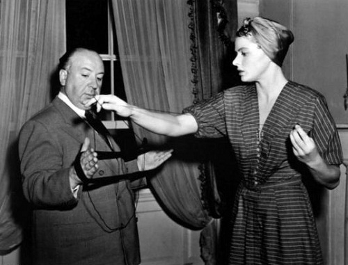 Film director Hitchcock and beautiful actress Ingrid Bergman