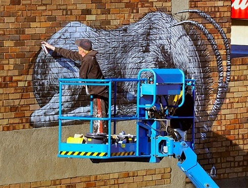 Large scale painting on the House in Johannesburg, in South Africa. Street art by Belgian graffiti artist Roa
