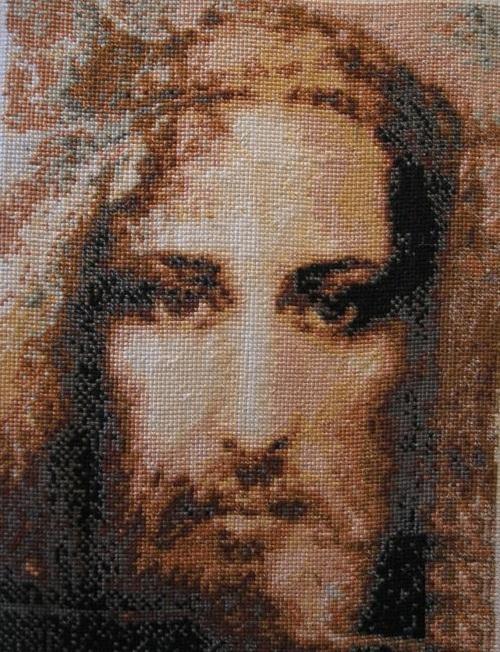 Jesus Christ. Embroidery by Russian artist Vasiliy Kolesnik