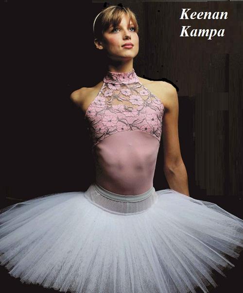Wearing a pancake tutu ballerina Keenan Kampa