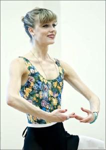 During the training. Beautiful ballerina Keenan Kampa
