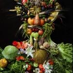 Fruit and vegetable portrait of Holy Roman Emperor Rudolf II as the Roman God of the seasons Vertumnus by photographer Klaus Enrique Gerdes