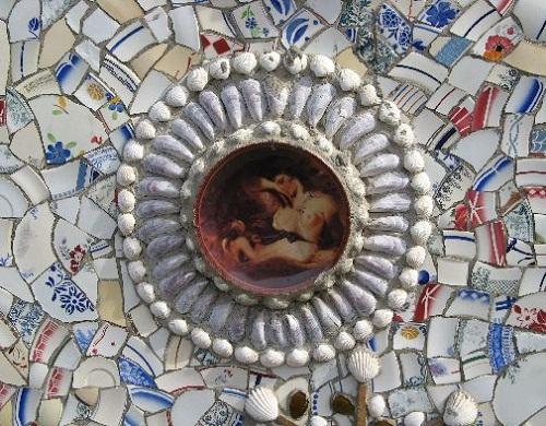 Closeup. Broken crockery mosaics