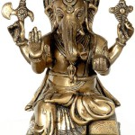 Blessing His Devotees Lord Ganesha. Brass Sculpture