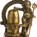 Brass Sculpture. Lord Ganesha with Shiva Linga