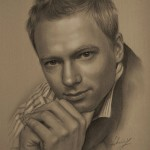 Maciej Stuhr (Polish actor). Pencil portrait by Polish Illustrator Krzysztof Lukasiewicz