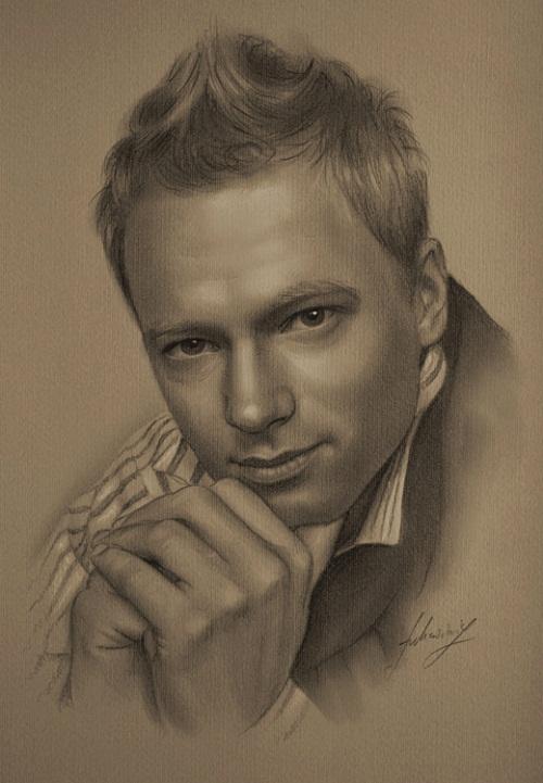 Maciej Stuhr (Polish actor). Pencil portrait by Polish Illustrator Krzysztof Lukasiewicz