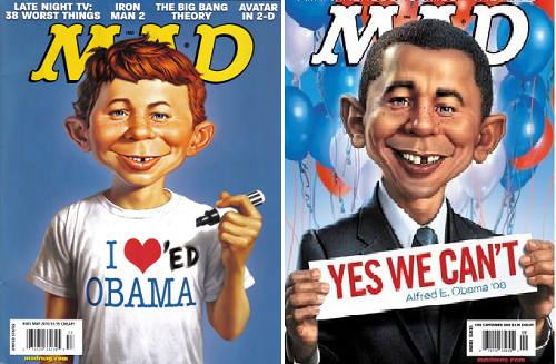 I loved Obama. Yes, we can't. Caricature on President Obama