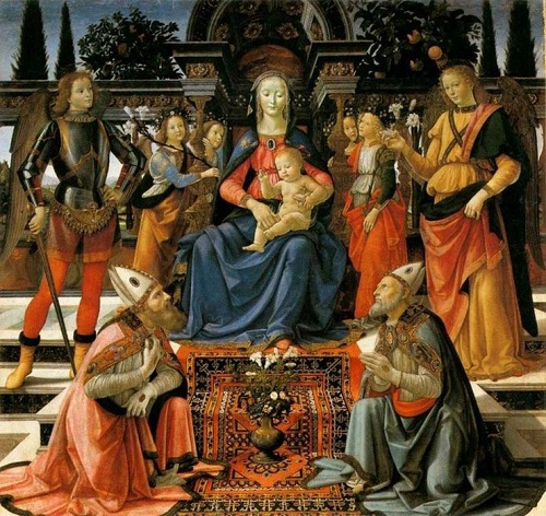 Madonna Enthroned with the Saints. 1484, Galleria degli Uffizi, Florence