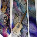 Men's silk tie Owl and guitar