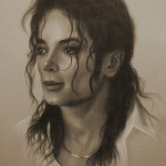 King of Pop Michael Jackson. Pencil portrait by Polish Illustrator Krzysztof Lukasiewicz