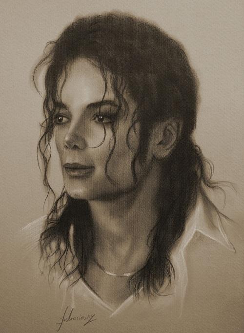 King of Pop Michael Jackson. Pencil portrait by Polish Illustrator Krzysztof Lukasiewicz