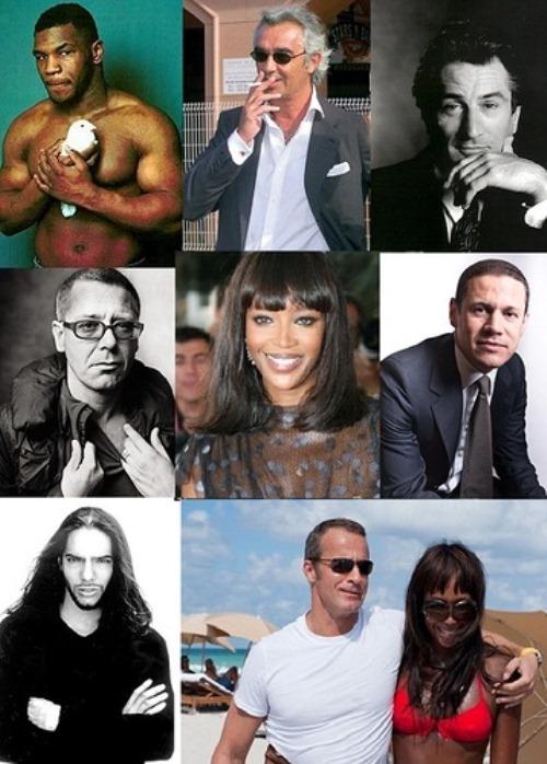 Naomi met with Robert de Niro, Sylvester Stallone, an Italian millionaire Flavio Briatore, bassist Adam Clayton, U2 dancer Joaquin Cortes.