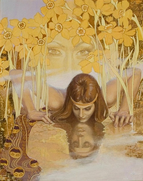 Narcissus. Mythological paintings by Russian artist Nikolai Burdykin