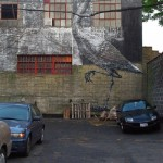 Awesome image of Heron painted on the wall of one of the houses in Brooklyn. Street art by Belgian graffiti artist Roa