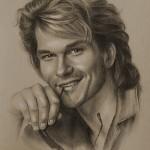 Patrick Wayne Swayze. Pencil portrait by Polish Illustrator Krzysztof Lukasiewicz