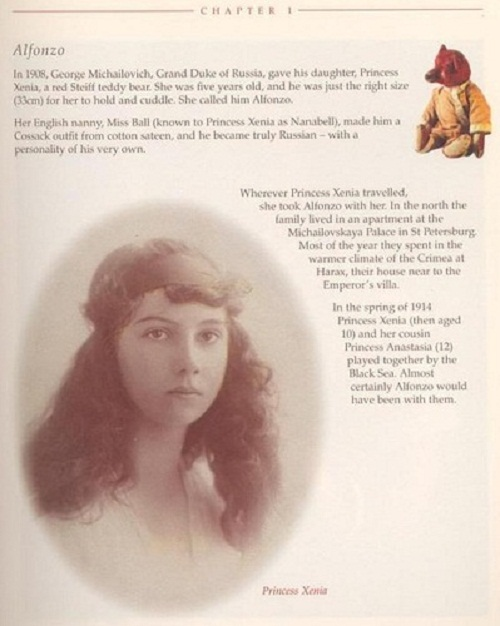 Page from the book about Princess Xenia and her bear Alfonzo