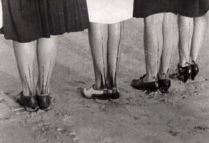 Painted stockings, retro photo